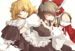 Rating: Safe Score: 45 Tags: 2girls blonde_hair blush bow brown_hair hakurei_reimu japanese_clothes kirisame_marisa long_hair miko touhou witch yellow_eyes yonu_(yonurime) User: w7382001