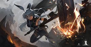 Rating: Safe Score: 49 Tags: animal_ears arknights bunny_ears bunnygirl cape erosiscon gray_hair long_hair savage_(arknights) thighhighs weapon User: BattlequeenYume