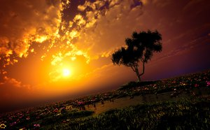 Rating: Safe Score: 171 Tags: 3d clouds flowers grass original scenic sky sunset tree water y-k User: STORM