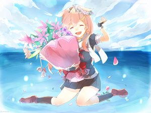 Rating: Safe Score: 50 Tags: anthropomorphism blonde_hair clouds flowers gloves kantai_collection long_hair ribbons scarf school_uniform sky tagme_(artist) water yuudachi_(kancolle) User: Traynor