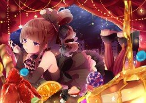 Rating: Safe Score: 39 Tags: brown_hair dress food fruit lolita_fashion orange_(fruit) original purple_eyes shinotarou_(nagunaguex) strawberry User: BattlequeenYume
