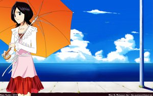 Rating: Safe Score: 28 Tags: black_hair bleach blue_eyes clouds dress jpeg_artifacts kuchiki_rukia photoshop short_hair umbrella water User: Atif