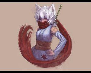 Rating: Safe Score: 110 Tags: animal_ears brown bukimi_isan gray_hair inubashiri_momiji japanese_clothes ninja red_eyes scarf sword touhou weapon wolfgirl User: Dust