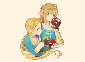 Rating: Safe Score: 54 Tags: aliasing animal apple braids food frog fruit gloves green_eyes kimitoshiin link_(zelda) long_hair male pointed_ears ponytail princess_zelda short_hair the_legend_of_zelda User: otaku_emmy