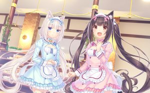 Rating: Safe Score: 58 Tags: 2girls animal_ears blue_eyes blush brown_eyes brown_hair catgirl cat_smile chocola_(sayori) game_cg headband long_hair maid nekopara neko_works sayori tail twintails vanilla_(sayori) waitress white_hair User: BattlequeenYume