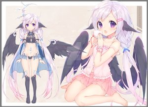 Rating: Safe Score: 53 Tags: barefoot braids cape drink long_hair navel original purple_eyes skirt tagme_(artist) thighhighs twintails watermark white_hair wings User: BattlequeenYume