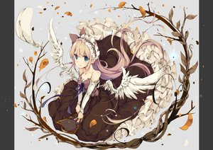 Rating: Safe Score: 76 Tags: aliasing aqua_eyes blonde_hair dress headdress long_hair original petals ribbons umi_no_mizu wings User: RyuZU