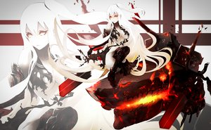 Rating: Safe Score: 49 Tags: akakitsu armored_aircraft_carrier_hime kantai_collection ponytail red_eyes white_hair User: FormX