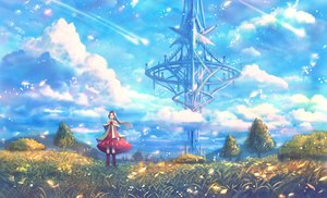 Rating: Safe Score: 29 Tags: boots bou_nin brown_eyes brown_hair clouds dress flowers grass long_hair original petals scenic sky tree User: RyuZU
