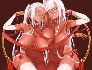 Rating: Questionable Score: 43 Tags: 2girls aliasing asanagi blue_eyes bondage breasts collar cropped dark_skin elbow_gloves garter gloves long_hair nude original ribbons thighhighs twins twintails valentine white_hair User: otaku_emmy