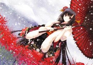 Rating: Safe Score: 349 Tags: black_hair blush brown_eyes flowers japanese_clothes kimono long_hair nishimata_aoi original scarf snow umbrella User: SciFi