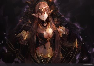 Rating: Safe Score: 87 Tags: breasts brown_hair cleavage dress fate/apocrypha fate/grand_order fate_(series) long_hair navel necklace pointed_ears semiramis tagme_(artist) yellow_eyes User: BattlequeenYume