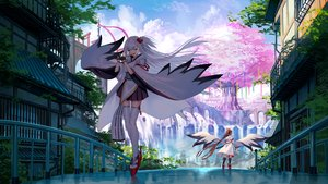 Rating: Safe Score: 76 Tags: 2girls akusema anthropomorphism azur_lane brown_hair building city clouds flute gloves instrument japanese_clothes long_hair ponytail shade shoukaku_(azur_lane) sky sword thighhighs torii tree water waterfall weapon white_hair zettai_ryouiki zuikaku_(azur_lane) User: BattlequeenYume