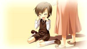 Rating: Safe Score: 15 Tags: brown_hair cabbit crying game_cg kai_(midori_no_umi) male midori_no_umi short_hair skirt tears yukie User: Katsumi