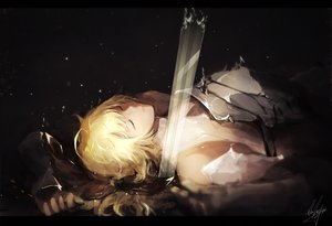 Rating: Safe Score: 84 Tags: armor artoria_pendragon_(all) blonde_hair dark fate/grand_order fate_(series) marumoru saber saber_lily signed sword weapon User: luckyluna