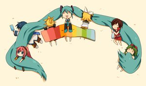Rating: Safe Score: 78 Tags: aqua_hair gumi hatsune_miku kagamine_len kagamine_rin kaito long_hair megurine_luka meiko twintails vocaloid User: HawthorneKitty