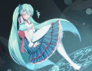 Rating: Safe Score: 47 Tags: aliasing aqua_hair hatsune_miku long_hair tagme_(artist) twintails vocaloid User: luckyluna