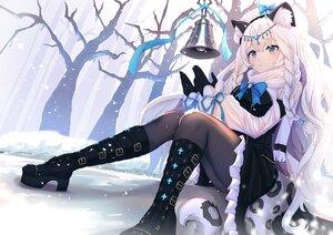 Rating: Safe Score: 84 Tags: animal_ears arknights bell braids catgirl gloves lankuchashuangjielong long_hair pantyhose pramanix_(arknights) snow tail tree white_hair User: BattlequeenYume