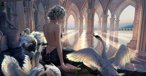 Rating: Safe Score: 57 Tags: animal bird braids dress ghostblade gray_hair pointed_ears princess_yan realistic reflection sky tiara wlop User: BattlequeenYume