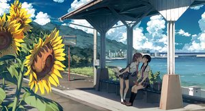 Rating: Safe Score: 134 Tags: 2girls 5_nenme_no_houkago black_hair book brown_hair building city clouds cropped flowers kantoku kiss kneehighs mirror reflection scan scenic seifuku shoujo_ai skirt sky sunflower tie twintails water User: RyuZU