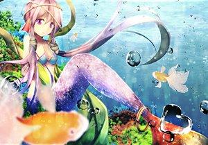 Rating: Safe Score: 156 Tags: animal bikini_top breasts bubbles cleavage fish kagayan1096 long_hair mermaid purple_eyes purple_hair twintails underwater vocaloid water yuzuki_yukari User: Flandre93