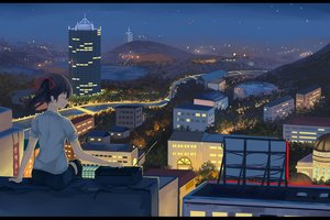 Rating: Safe Score: 87 Tags: black_hair building city landscape .l.l love_live!_school_idol_project night ribbons rooftop scenic thighhighs yazawa_nico User: Flandre93