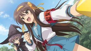 Rating: Safe Score: 56 Tags: 2girls blush bow brown_eyes brown_hair cape game_cg glasses hat headband long_hair nagato_yuki purple_hair ribbons school_uniform suzumiya_haruhi suzumiya_haruhi_no_tsuisou suzumiya_haruhi_no_yuutsu tree wand User: SciFi