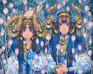 Rating: Safe Score: 27 Tags: 2girls animal black_hair blue_eyes braids flowers fox headband horns long_hair minami_(minami373916) original tattoo User: RyuZU