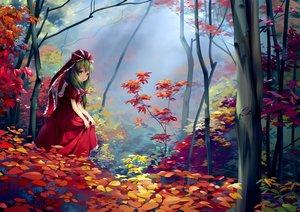 Rating: Safe Score: 97 Tags: autumn bow chen_bin dress forest green_eyes green_hair kagiyama_hina leaves long_hair scenic touhou tree User: RyuZU