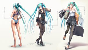 Rating: Questionable Score: 226 Tags: aqua_eyes aqua_hair hatsune_miku pantyhose photoshop swimsuit takouji twintails underwear vocaloid User: gnarf1975