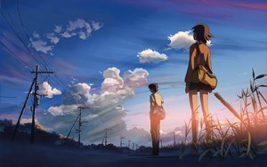 Rating: Safe Score: 76 Tags: brown_hair byousoku_5_centimetre clouds grass scenic seifuku shinkai_makoto short_hair skirt sky sumida_kanae toono_takaki User: Eruku
