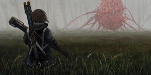 Rating: Safe Score: 44 Tags: brown_hair dark forest grass hoodie original scenic short_hair tree weapon yomanika0021 User: otaku_emmy