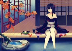 Rating: Safe Score: 106 Tags: alexiel_(pixiv6211566) autumn black_eyes black_hair breasts cleavage drink food japanese_clothes kimono leaves long_hair original signed thighhighs water User: gnarf1975