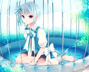 Rating: Safe Score: 176 Tags: all_male barefoot blue_hair bow cage goma_(11zihisin) male original purple_eyes ribbons short_hair shorts trap User: FormX