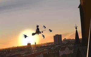 Rating: Safe Score: 29 Tags: animal bird building cat city jiji_(character) kiki majo_no_takkyuubin scenic snatti sunset User: RyuZU