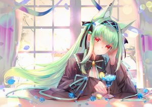 Rating: Safe Score: 25 Tags: animal_ears breasts cape cleavage drink flowers goth-loli green_hair lims_(neko2lims) lolita_fashion long_hair original red_eyes ribbons rose User: BattlequeenYume