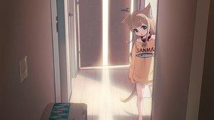 Rating: Safe Score: 86 Tags: 40hara animal_ears brown_hair catgirl choker cropped green_eyes kinako_(40hara) loli original tail waifu2x User: gnarf1975