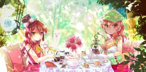 Rating: Safe Score: 26 Tags: 2girls animal bicolored_eyes bird book bow breasts brown_hair bunny cafe_(cafe-chan_to_break_time) cafe-chan_to_break_time cleavage dress drink flowers food garter_belt gloves hat leaves long_hair porurin red_eyes red_hair rose tea_(cafe-chan_to_break_time) tree User: BattlequeenYume