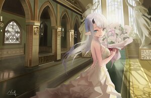 Rating: Safe Score: 43 Tags: blue_eyes flowers gray_hair horns long_hair nina_(pixiv31869672) original pointed_ears rose signed wedding_attire User: BattlequeenYume