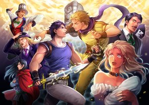 Rating: Safe Score: 25 Tags: animal aqua_eyes black_hair blonde_hair blue_eyes bow cape choker crying danny_(jojo) dio_brando dog erina_pendleton george_joestar gloves hat jojo_no_kimyou_na_bouken jonathan_joestar long_hair male necklace purple_hair robert_e._o._speedwagon scarf short_hair straizo_(jojo) suit sword tagme_(artist) tears tie weapon william_anthonio_zeppeli yellow_eyes User: otaku_emmy