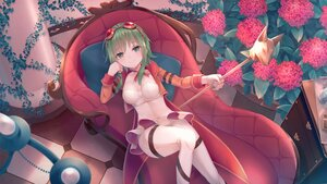 Rating: Safe Score: 44 Tags: breasts choker cleavage couch flowers garter goggles green_eyes green_hair gumi leaves ribbons sakakidani short_hair skirt staff vocaloid User: BattlequeenYume