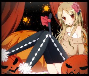 Rating: Safe Score: 177 Tags: animal_ears bell blonde_hair bloodcatblack blush brown_eyes catgirl collar flowers halloween long_hair original pumpkin ribbons tail thighhighs User: opai