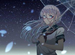 Rating: Safe Score: 92 Tags: aqua_eyes glasses long_hair night original saitou_(lynx-shrike) school_uniform sky stars umbrella uniform white_hair User: Eleanor