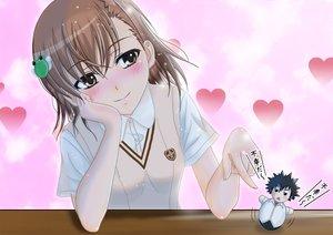 Rating: Safe Score: 57 Tags: blush brown_eyes brown_hair doll h.i.t_(59-18-45) kamijou_touma misaka_mikoto school_uniform to_aru_majutsu_no_index User: Freenight