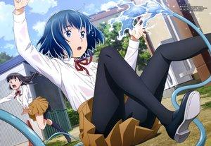 Rating: Safe Score: 53 Tags: blue_eyes blue_hair hina_(hinamatsuri) hinamatsuri kneehighs long_hair megami mishima_hitomi pantyhose scan school_uniform short_hair skirt tsujikami_ayaka water User: RyuZU
