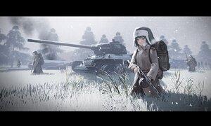 Rating: Safe Score: 39 Tags: black_hair combat_vehicle grass gun hat kexue male military original red_eyes scenic short_hair sky snow uniform weapon User: SnekNOTSnake