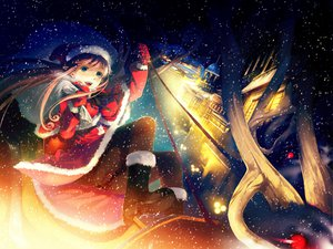 Rating: Questionable Score: 25 Tags: blue_eyes boots christmas gloves hat long_hair red_hair santa_costume santa_hat simosi snow User: Oyashiro-sama