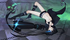 Rating: Safe Score: 105 Tags: bikini_top black_hair black_rock_shooter blue_eyes boots chain daye_bie_qia_lian gloves kneehighs kuroi_mato navel scar shorts skull twintails weapon User: Flandre93