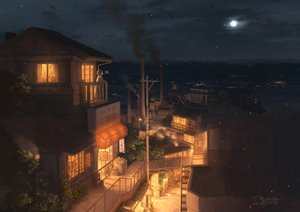 Rating: Safe Score: 117 Tags: building city industrial moon night original pochi_(poti1990) scenic short_hair signed sky snow stairs User: RyuZU