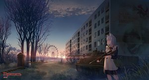 Rating: Safe Score: 46 Tags: animal_ears apron blue_eyes building city clouds combat_vehicle gray_hair gun maid original short_hair sion005 sky sunset translation_request tree weapon User: RyuZU